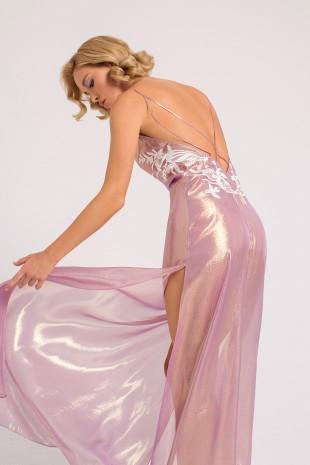 Лавандовое Будуарное Платье с Открытой Спиной